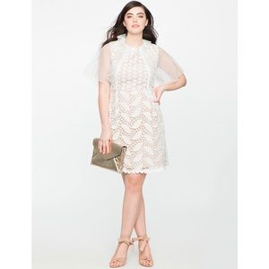 ELOQUII White Mixed Lace Cocktail Dress